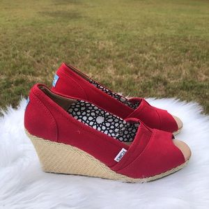 Toms Red Peep Toe Wedges